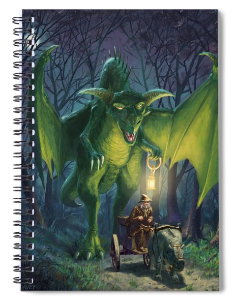 Dragon Walking With Lamp Fantasy Spiral Notebook
