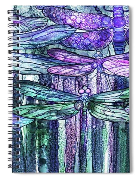 Dragonfly Bloomies 4 - Lavender Teal Spiral Notebook