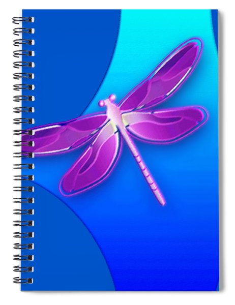 Dragonfly Pink On Blue Spiral Notebook