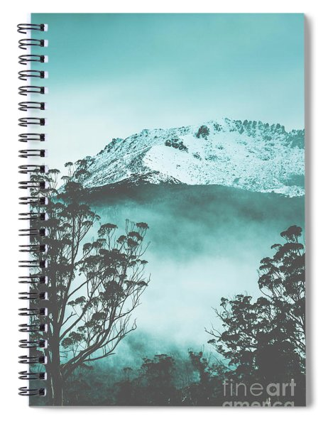 Dramatic Dark Blue Mountain With Snow And Fog Spiral Notebook