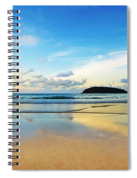 Dramatic Scene Of Sunset On The Beach Spiral Notebook