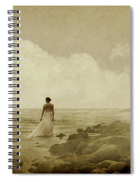 Dramatic Seascape And Woman Spiral Notebook