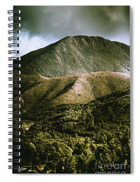 Dramatic View On Mount Zeehan Against Stormy Cloud Spiral Notebook