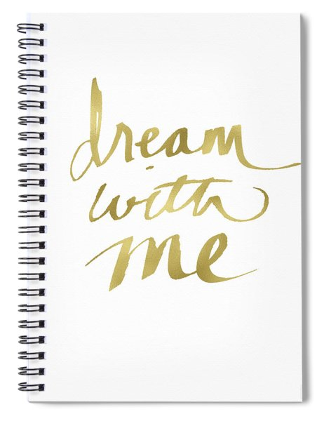 Dream With Me Gold- Art By Linda Woods Spiral Notebook