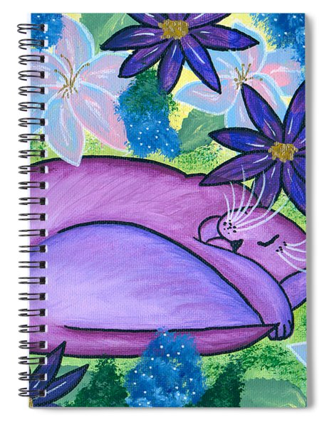 Dreaming Sleeping Purple Cat Spiral Notebook