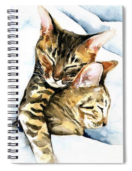 Dreamland - Bengal And Savannah Cat Painting Spiral Notebook