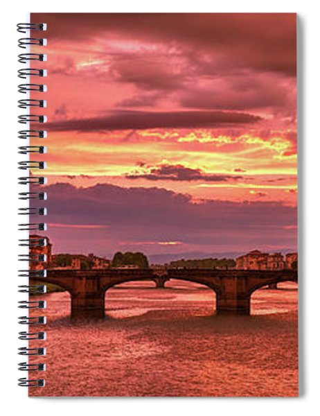 Saint Trinity Bridge From Ponte Vecchio At Red Sunset In Florence, Italy Spiral Notebook