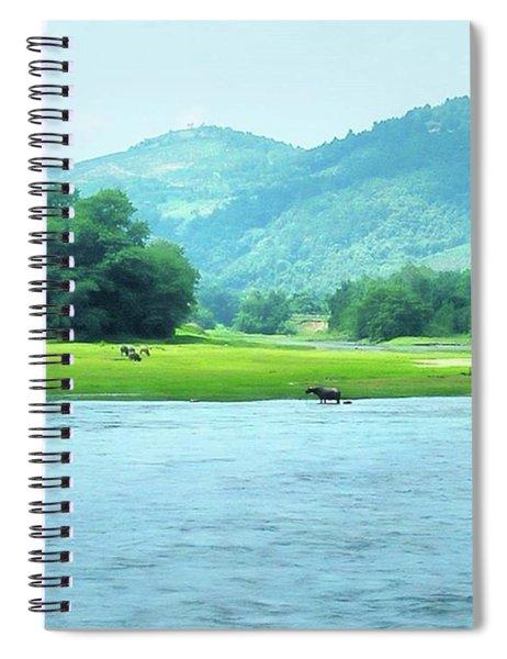 Animals In Li River Spiral Notebook
