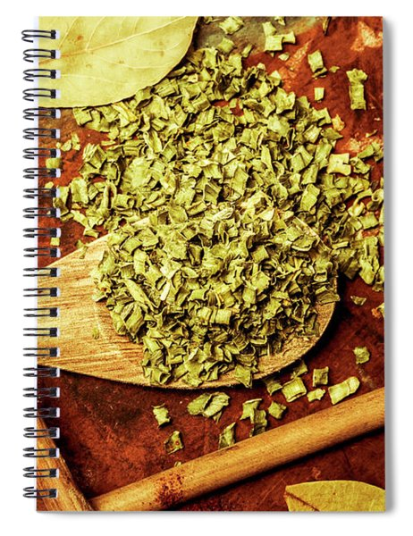 Dried Chives In Wooden Spoon Spiral Notebook