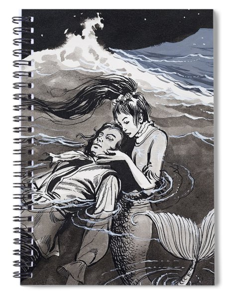 Drowned Man Being Assisted By A Mermaid Spiral Notebook