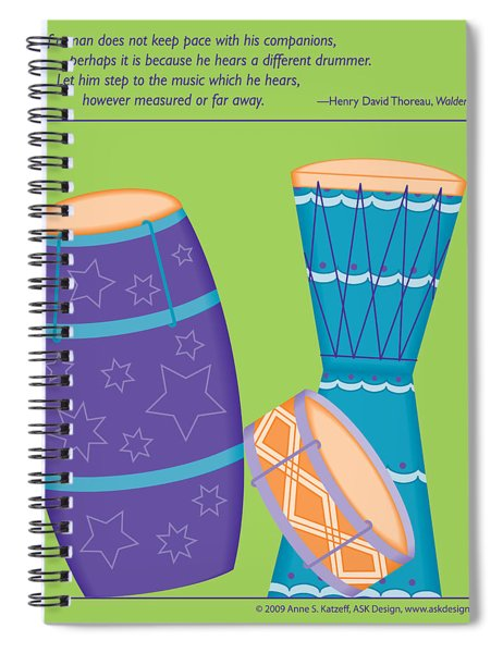 Drums - Thoreau Quote Spiral Notebook