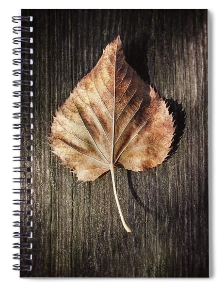 Dry Leaf On Wood Spiral Notebook