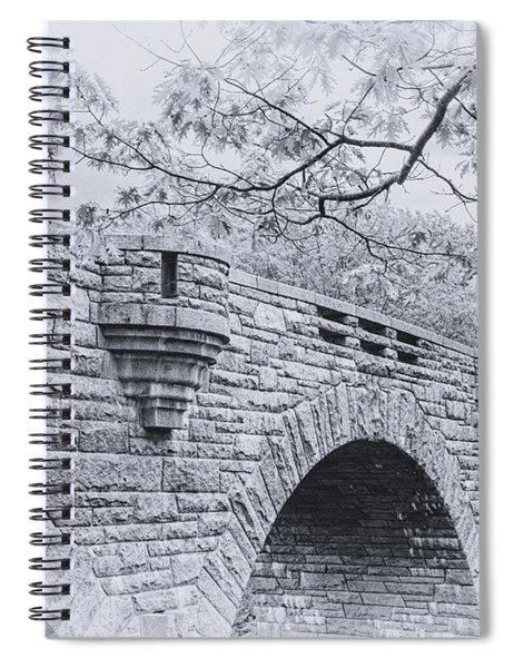 Duck Brook Bridge In Black And White Spiral Notebook
