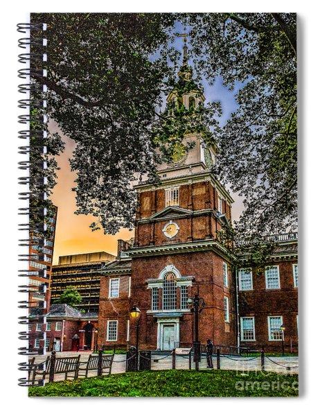 Dusk At Independence Hall Spiral Notebook