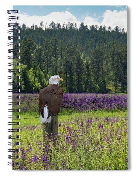 Spiral Notebook featuring the photograph Eagle On Fence Post by Patti Deters