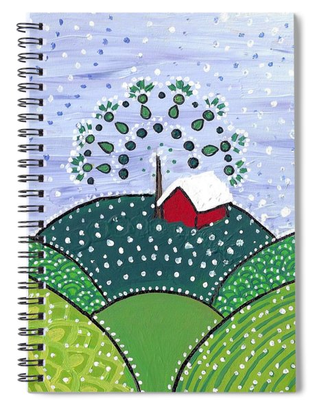 Early Snow On The Little Red Barn Spiral Notebook