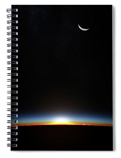 Earth Sunrise Through Atmoshere Spiral Notebook