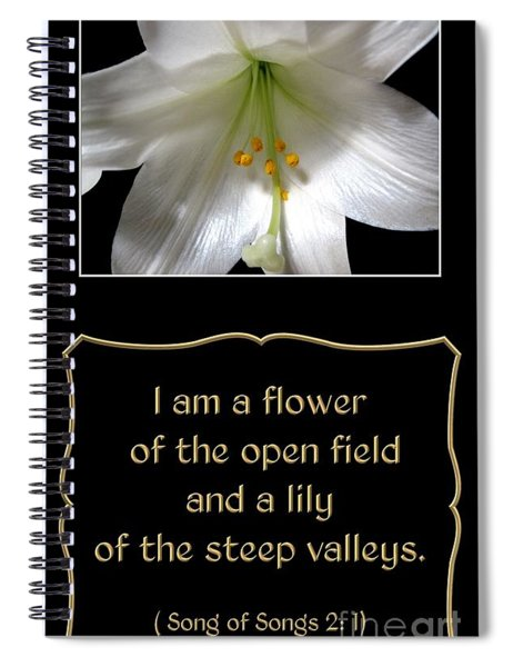 Easter Lily With Song Of Songs Quote Spiral Notebook
