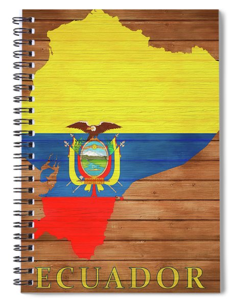 Ecuador Rustic Map On Wood Spiral Notebook