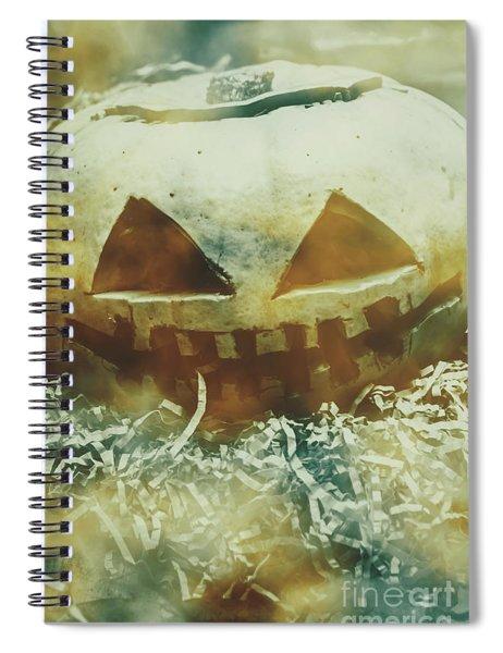 Eerie Ghoulish Halloween Pumpkin Head Spiral Notebook
