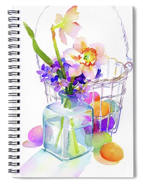 Egg Basket With Flowers Spiral Notebook