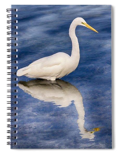 Egret Reflection On Blue Spiral Notebook
