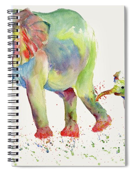 Elephant Family Watercolor  Spiral Notebook by Melly Terpening