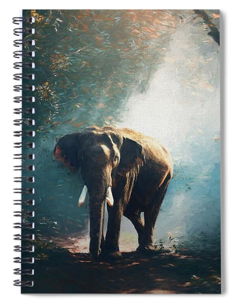 Elephant In The Mist - Painting Spiral Notebook