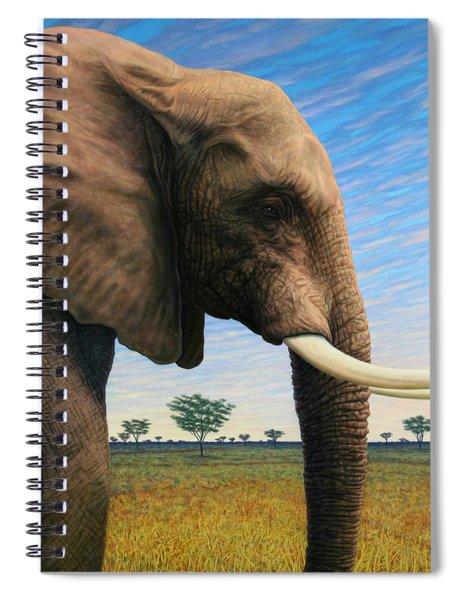 Elephant On Safari Spiral Notebook by James W Johnson