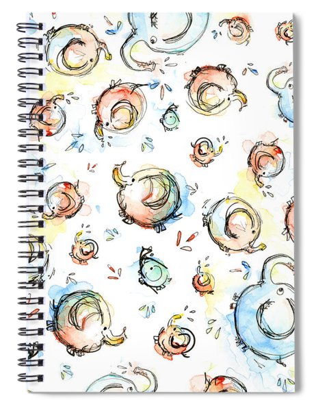 Elephant Pattern Watercolor Spiral Notebook