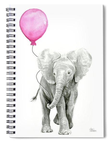 Baby Elephant Watercolor  Spiral Notebook