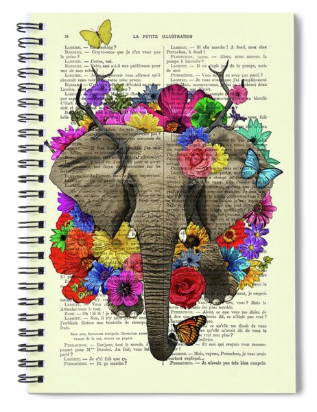 Elephant With Colorful Flowers Illustration Spiral Notebook