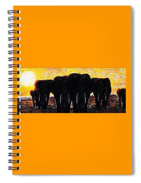 Elephants  Sunset Spiral Notebook