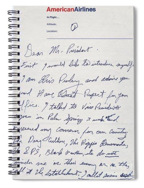 Elvis Presley Letter To President Richard Nixon Spiral Notebook