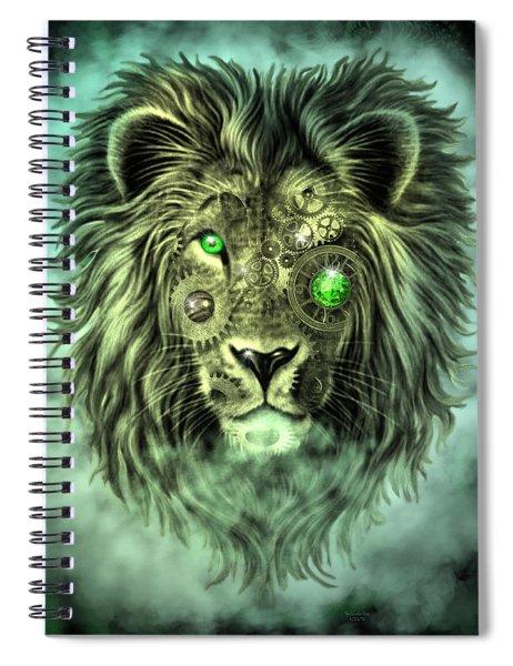 Emerald Steampunk Lion King Spiral Notebook