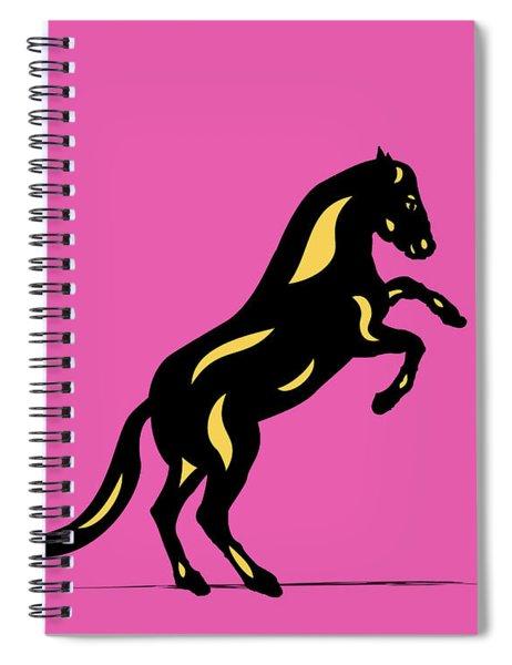 Emma II - Pop Art Horse - Black, Primrose Yellow, Pink Spiral Notebook
