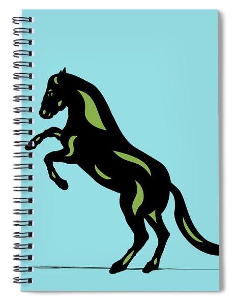 Spiral Notebook featuring the digital art Emma - Pop Art Horse - Black, Greenery, Island Paradise Blue by Manuel Sueess