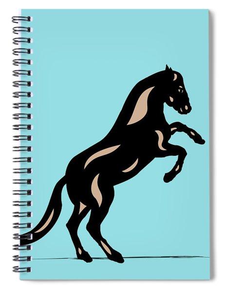 Spiral Notebook featuring the digital art Emma II - Pop Art Horse - Black, Hazelnut, Island Paradise Blue by Manuel Sueess