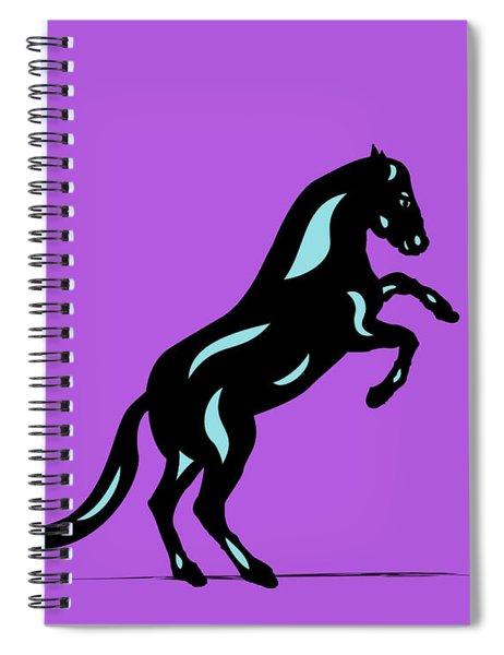 Emma II - Pop Art Horse - Black, Island Paradise Blue, Purple Spiral Notebook