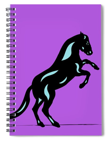Spiral Notebook featuring the digital art Emma II - Pop Art Horse - Black, Island Paradise Blue, Purple by Manuel Sueess
