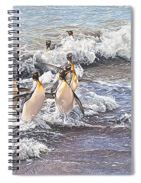 Spiral Notebook featuring the painting Emperor Penguins by Alan M Hunt