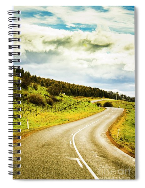 Empty Asphalt Road In Countryside Spiral Notebook