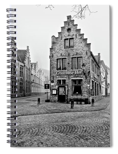 Spiral Notebook featuring the photograph Empty Streets In Bruges On A Misty Morning by Barry O Carroll