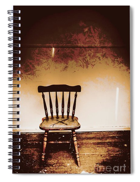 Empty Wooden Chair With Cross Sign Spiral Notebook