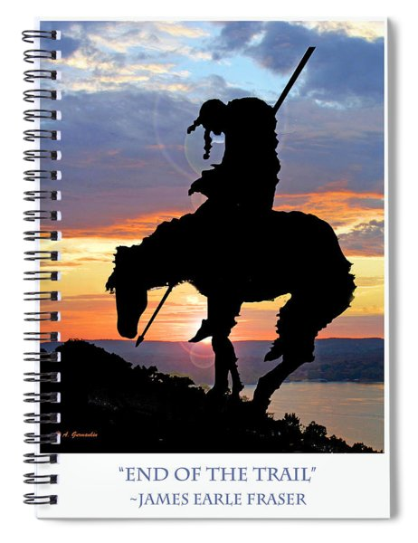 End Of The Trail Sculpture In A Sunset Spiral Notebook