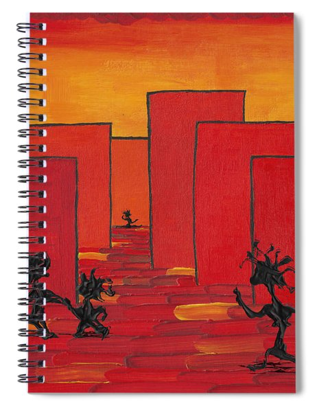 Spiral Notebook featuring the painting Enjoy Dancing In Red Town P1 by Manuel Sueess