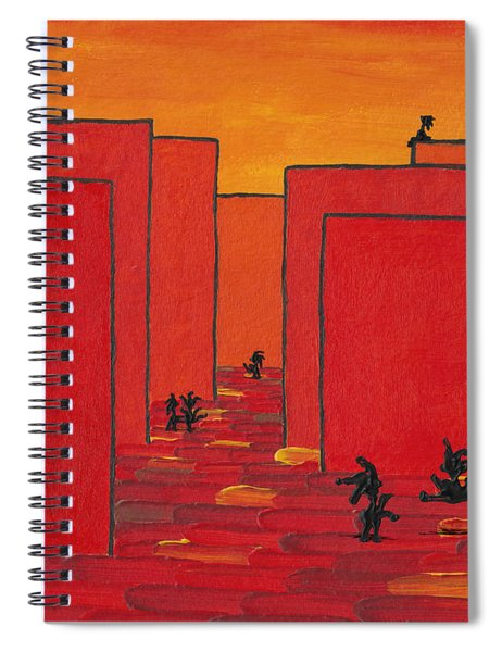 Spiral Notebook featuring the painting Enjoy Dancing In Red Town P2 by Manuel Sueess