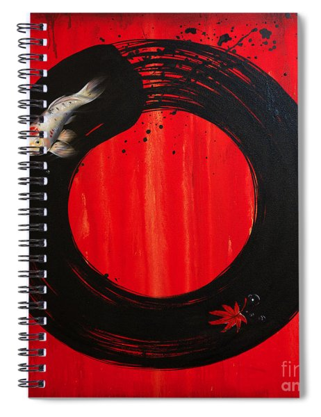 Enso With Koi Red And Gold Spiral Notebook