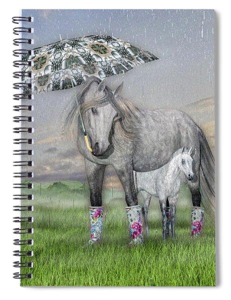 Equine Sleepy Spring Showers Spiral Notebook