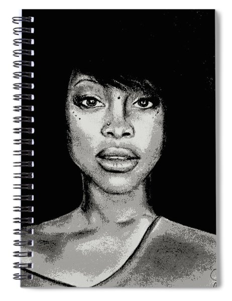 Erykah Baduism - Pencil Drawing From Photograph - Charcoal Pencil Drawing By Ai P. Nilson Spiral Notebook